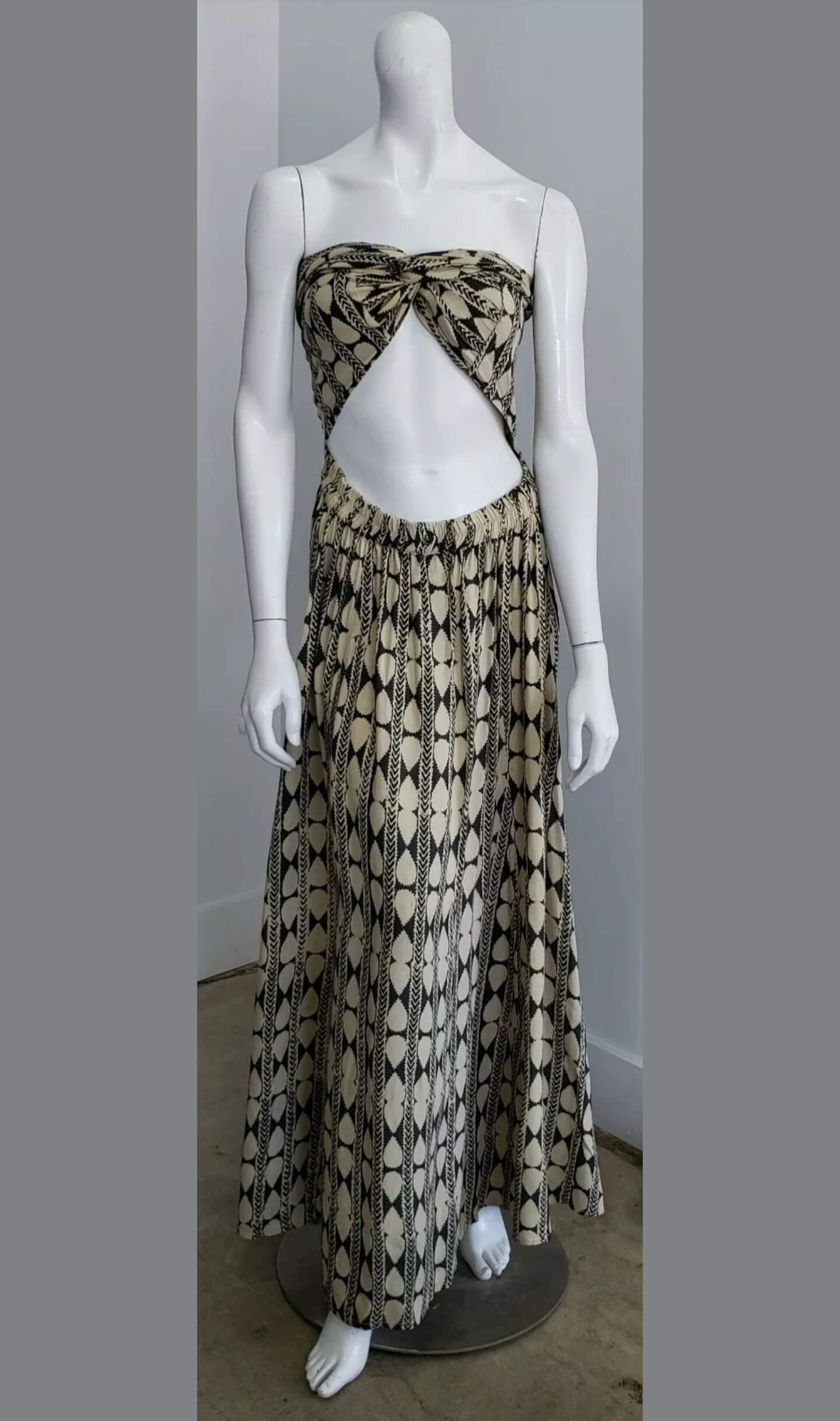 Vintage Ethnic Taupe Hunter Green Leaf Print Multi Functional One Shoulder Strapless Tie Festival Maxi Dress