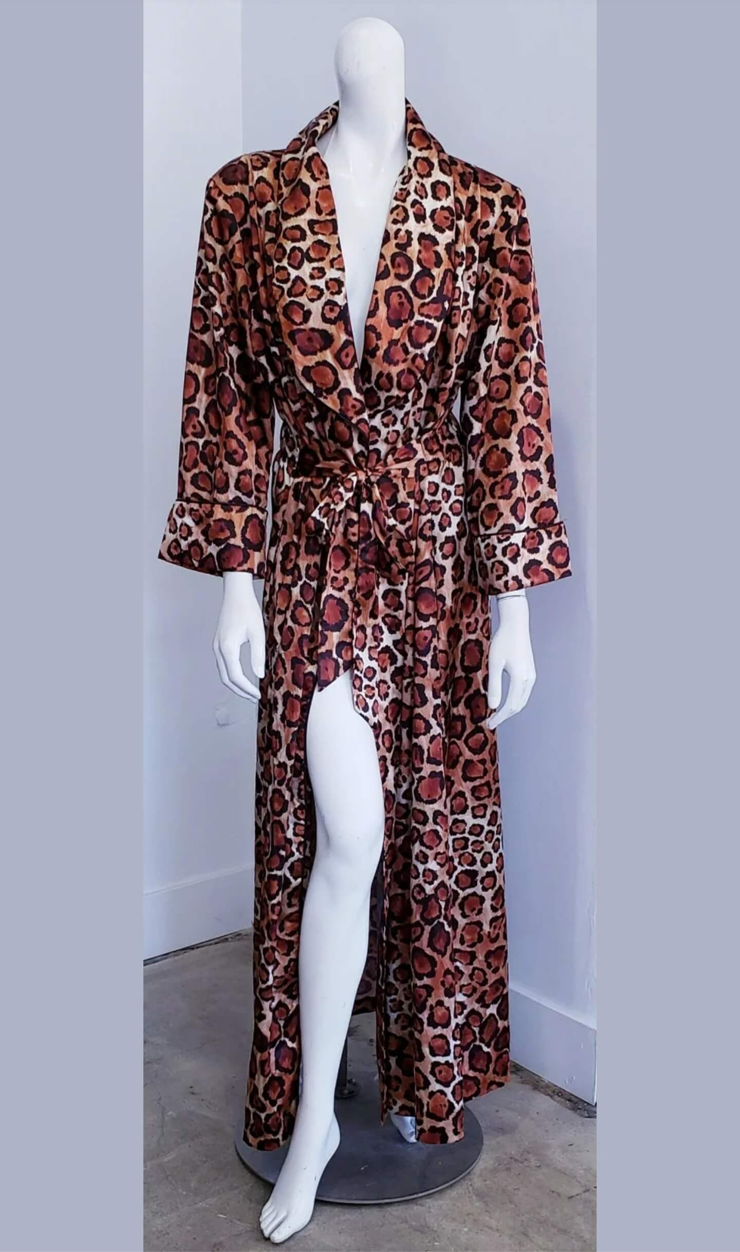 Vintage One-Of-A-Kind David Brown California Cheetah Duster Maxi Robe