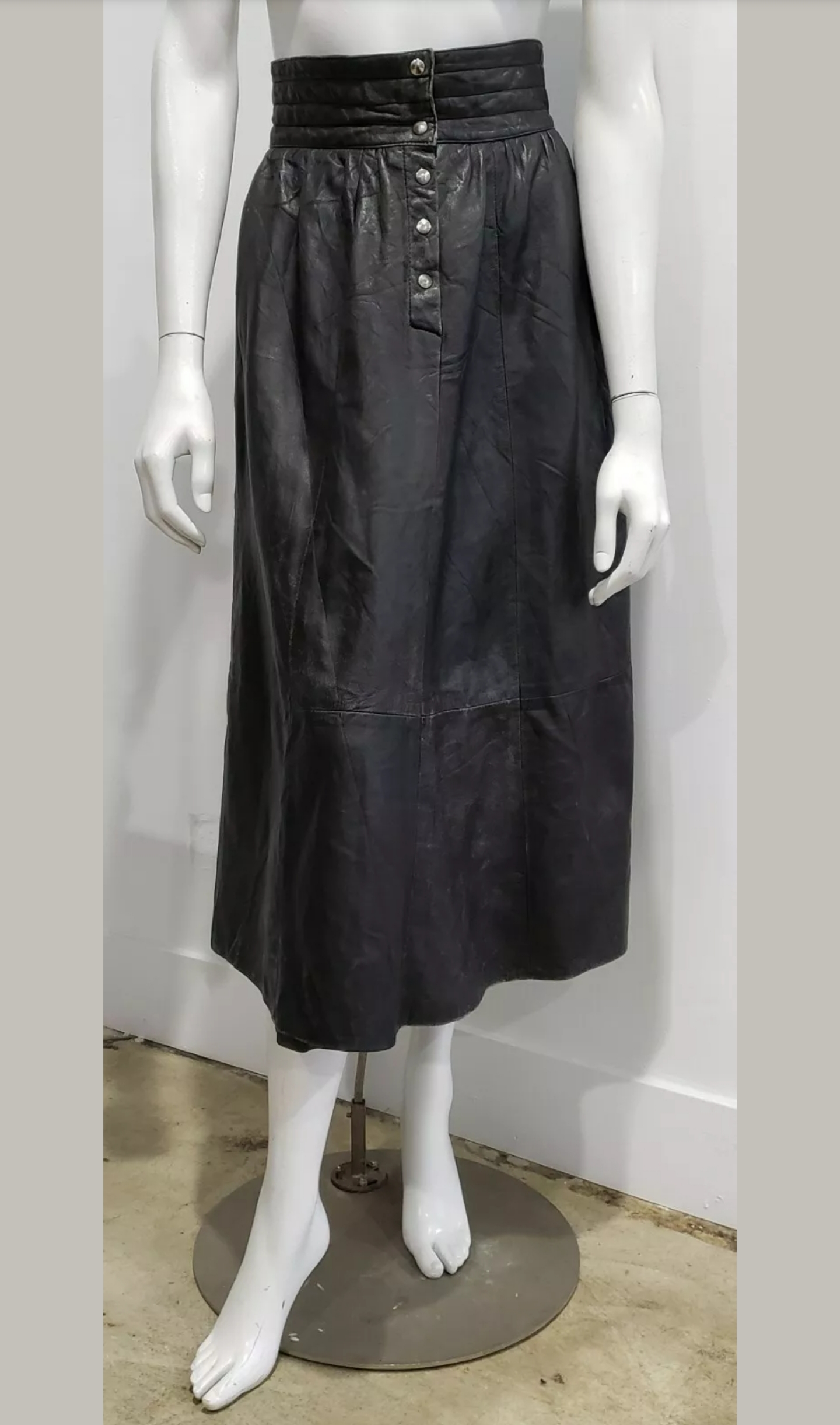Vintage Black High Waist Leather Midi Skirt