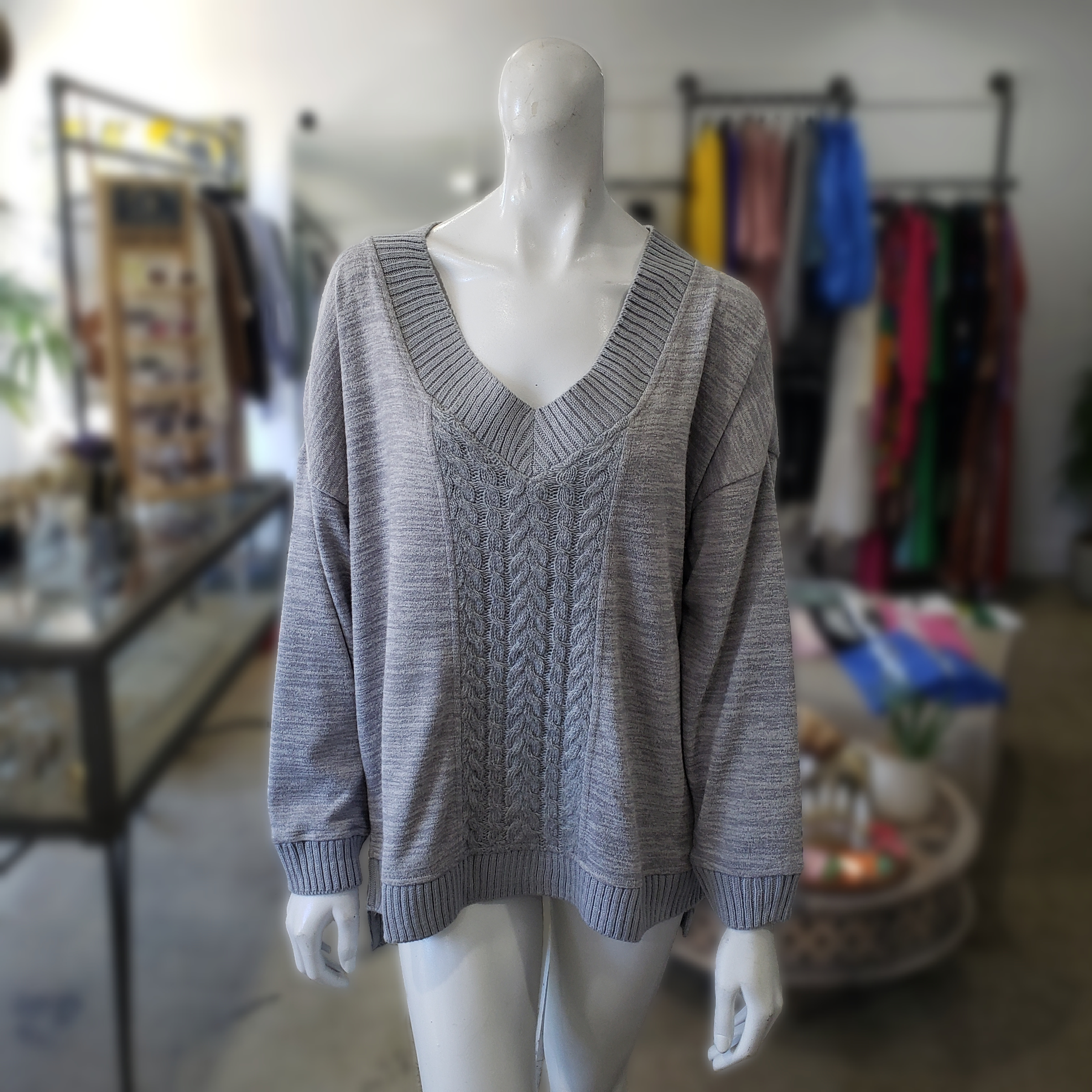 Heather Grey Cable Knit Boyfriend Sweater