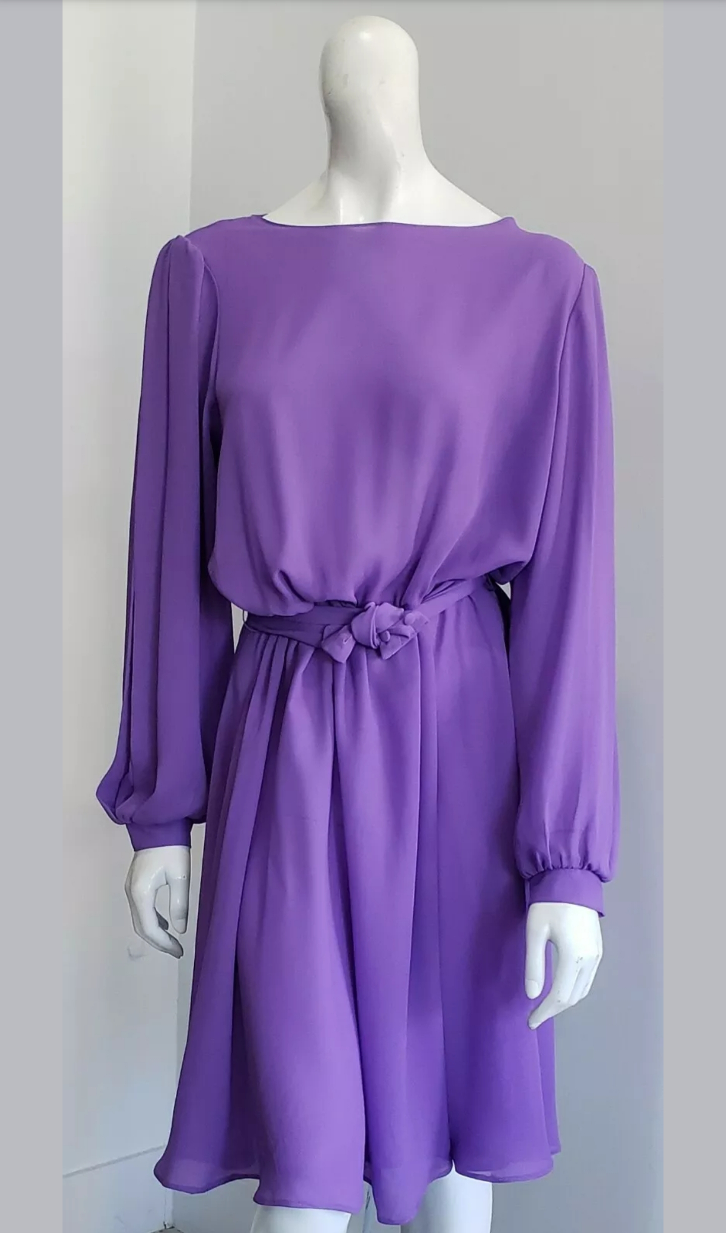 Vintage 80's Lilac Purple Georgette Pleated Poet Sleeve Glam Midi Dress