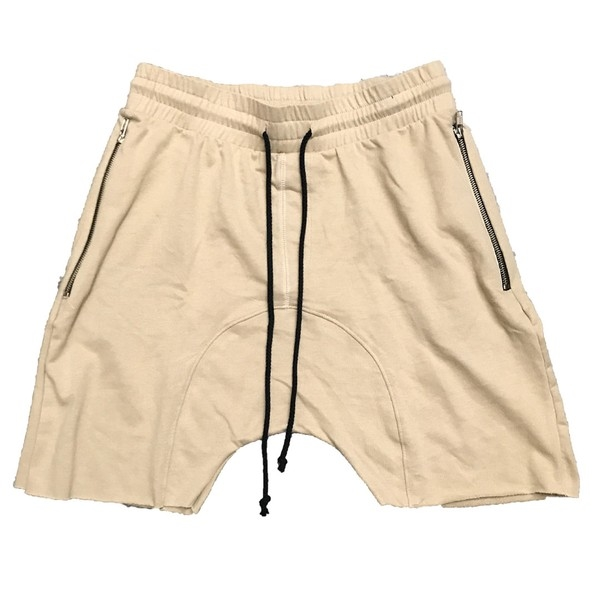 Drop Crotch Khaki French Terry Shorts