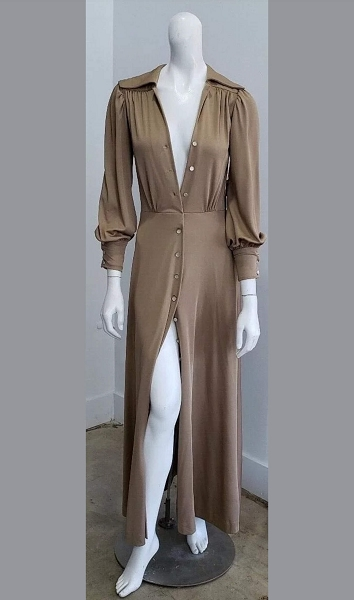Vintage Ayres Unlimited Beige Hollywood Glam Maxi Dress