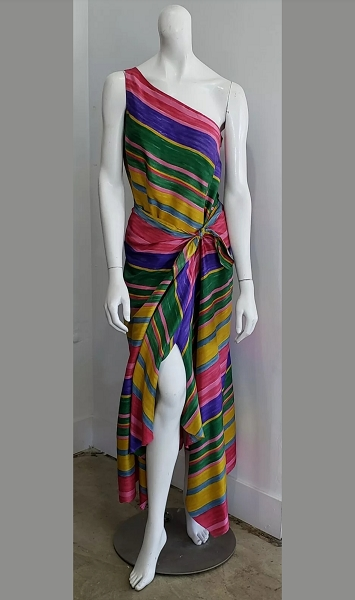 Vintage CARLISLE Silk One Shoulder Top and Tie Skirt Rainbow Stripe Two Piece Set