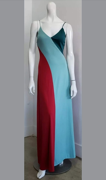 Vintage Burgundy Aqua Green Asymmetric Colorblock Hollywood Glam Sleek Maxi Dress