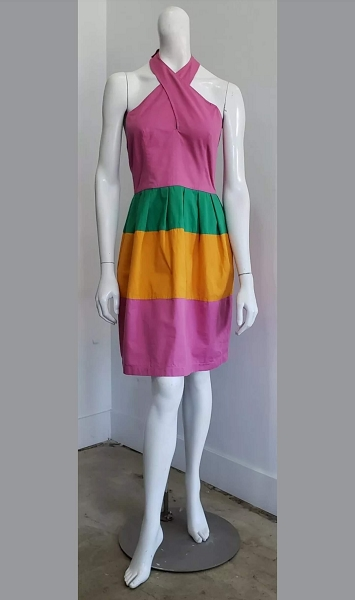 Vintage Pink Green Mustard Colorblock Halter Neck Above The Knee Mod GoGo Mini