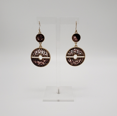 Burgundy Cheetah Cut Out Acrylic Double Round Dangle Goldtone Earrings