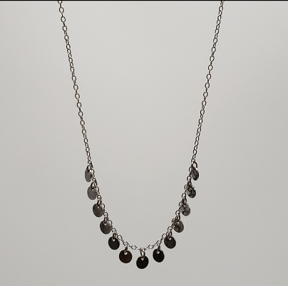 Silver Round Disc Fringe Necklace