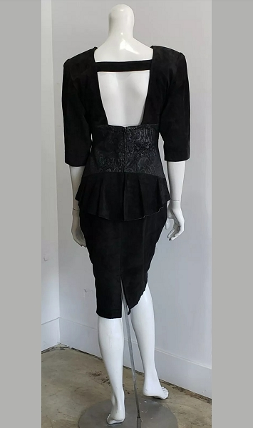 Vintage Black Snake Suede Leather Peplum Open Back Sheath Dress