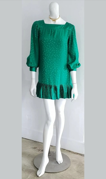 Vintage Silk Green Gem Leaf Jacquard Pleated Mini Cocktail Puff Sleeve