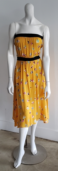 Vintage Yellow Floral Black Ribbing Strapless Midi Dress