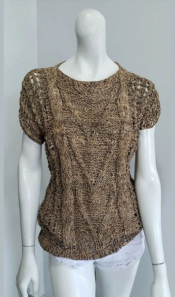 Vintage Hippie Tan Leather Crochet Cable Knit Blouse Top