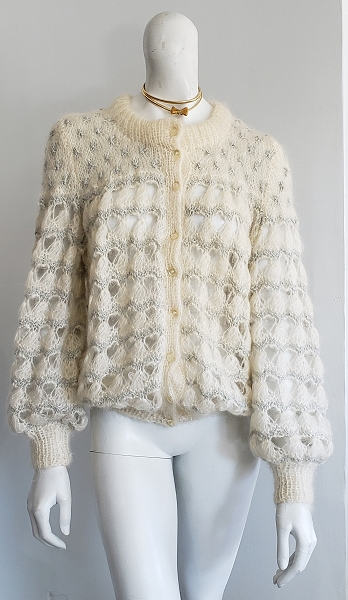Vintage Olivia Paul Made in England Crochet Sweater Puff Balloon Poet Sleeve