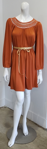 Vintage 70's Rust Orange Crochet Boho Hippie Poet Sleeve Glam Mini Dress