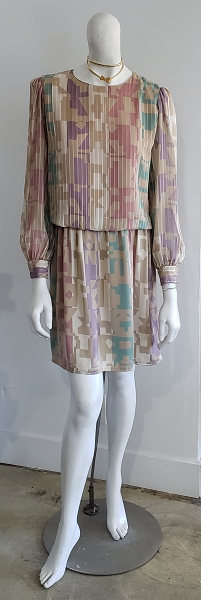 Vintage 80's Beige Multi Abstract Chiffon Silk Puff Sleeve Glam Mini Dress