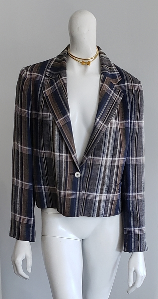 Vintage Blue Plaid Boyfriend Crop Jacket