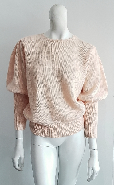 Vintage Soft Peach Angora Knit Puff Sleeve Sweater