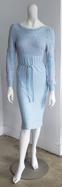 70s Pale Blue Crochet Sweater Knit Braided Belted Puff Sleeve Dress