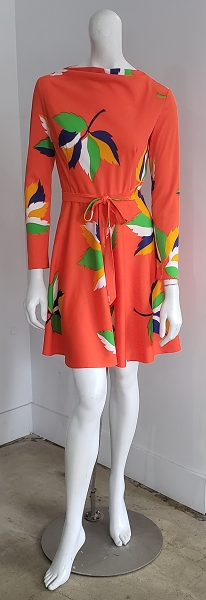 Vintage Bright Orange Abstract Leaf Cowl Glam Hippy Mini Dress
