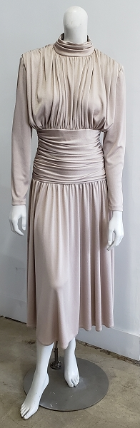 Vintage 80s Champagne Beige Draped Ruched Shirred Mock Neck Midi Party Dress