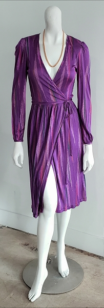 Vintage 70s Missoni Purple Multi Abstract Silk Puff Sleeve Midi Wrap Dress