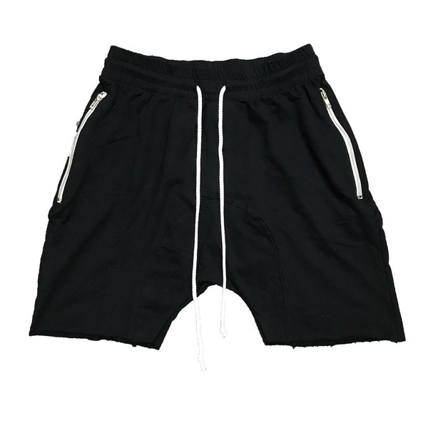Drop Crotch Black French Terry Shorts