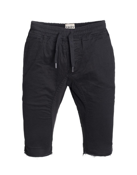 Black Solid Cotton Jogger Shorts