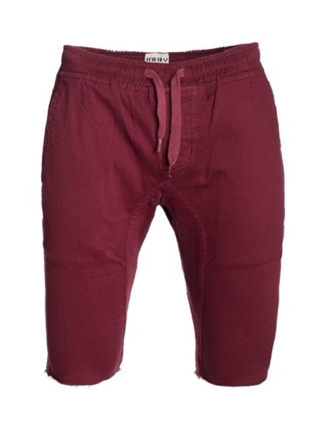 Burgundy Solid Cotton Jogger Shorts