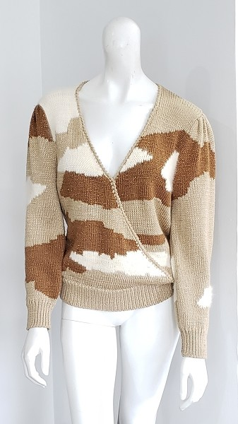80s Puff Sleeve Champagne Ivory Angora Bronze Copper Metallic Cloud Cross Front Sweater