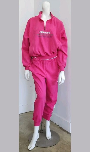 Vintage Pink ELLESSE 80's Athleisure Sweat Suit Sweatshirt and Sweatpants